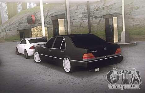 Mercedes-Benz W140 600sel pour GTA San Andreas sur la vue arrière gauche
