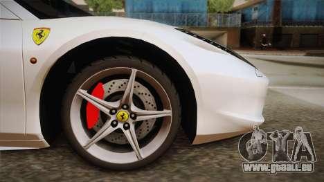 Ferrari 458 Spider für GTA San Andreas zurück linke Ansicht