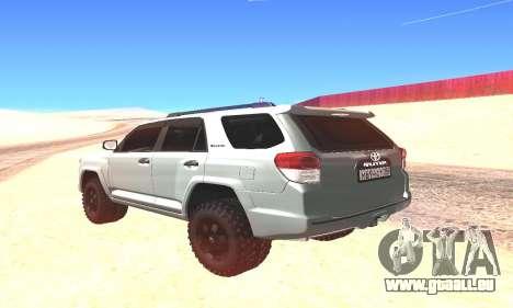 Toyota 4Runner pour GTA San Andreas sur la vue arrière gauche