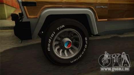 Jeep Grand Wagoneer Limite 1986 pour GTA San Andreas vue arrière