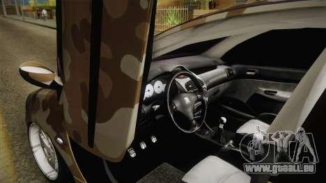 Peugeot 206 Army pour GTA San Andreas vue de droite