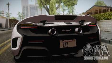 McLaren 675LT 2015 5-Spoke Wheels pour GTA San Andreas vue arrière