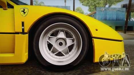 Ferrari F40 (EU-Spec) 1989 IVF pour GTA San Andreas vue arrière