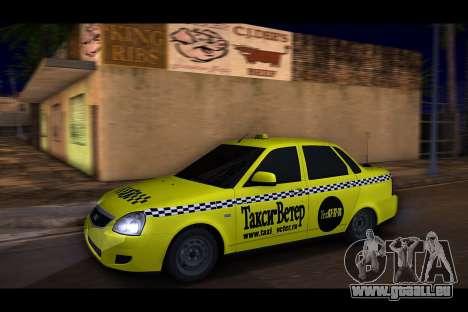 Lada Priora Taxi-Le Vent pour GTA San Andreas sur la vue arrière gauche