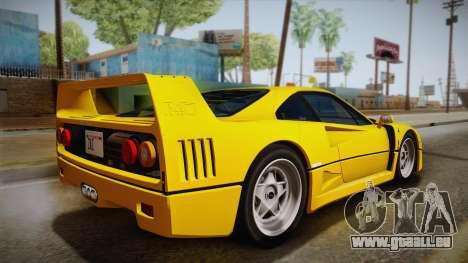Ferrari F40 (EU-Spec) 1989 IVF pour GTA San Andreas laissé vue