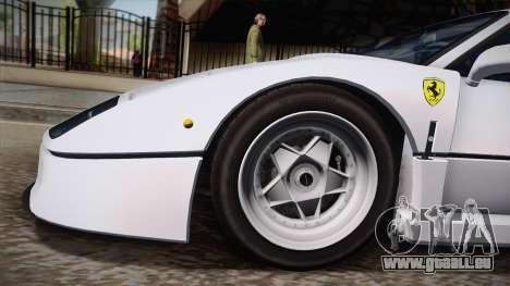 Ferrari F40 (EU-Spec) 1989 HQLM pour GTA San Andreas sur la vue arrière gauche