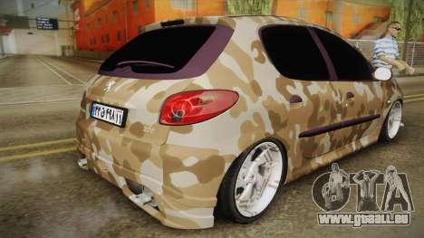 Peugeot 206 Army pour GTA San Andreas laissé vue