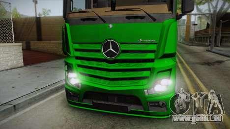 Mercedes-Benz Actros Mp4 6x2 v2.0 Bigspace pour GTA San Andreas sur la vue arrière gauche