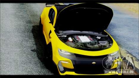Chevrolet Camaro SS 2016 Bumblebee TF 5 pour GTA San Andreas vue intérieure