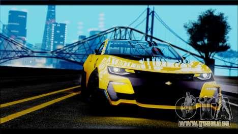Chevrolet Camaro SS 2016 Bumblebee TF 5 pour GTA San Andreas sur la vue arrière gauche