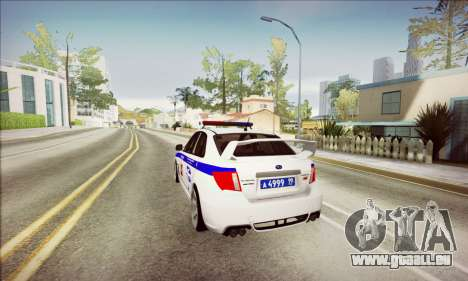 Subaru Impreza WRX STI Police pour GTA San Andreas vue arrière