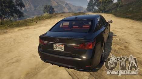 GTA 5 Lexus GS 350 arrière vue latérale gauche
