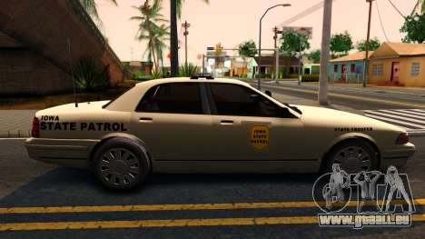 Brute Stanier 2009 Iowa State Patrol pour GTA San Andreas sur la vue arrière gauche