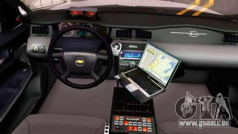 Chevy Impala Blueberry PD 2009 pour GTA San Andreas vue intérieure