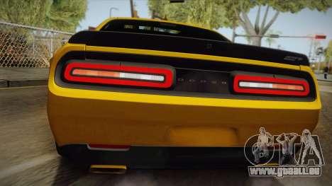 Dodge Challenger Hellcat 2015 für GTA San Andreas Rückansicht