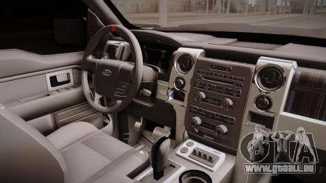 Ford Raptor pour GTA San Andreas vue intérieure