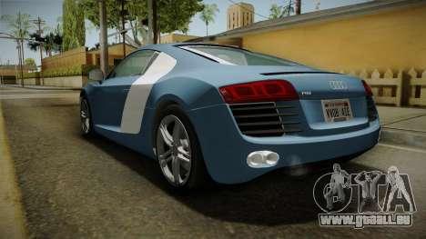 Audi R8 Coupe 4.2 FSI quattro EU-Spec 2008 YCH für GTA San Andreas zurück linke Ansicht