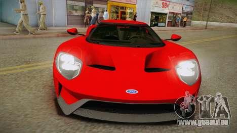 Ford GT 2017 No Stripe für GTA San Andreas rechten Ansicht