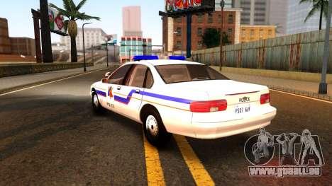 Chevy Caprice Hometown Police 1996 pour GTA San Andreas sur la vue arrière gauche