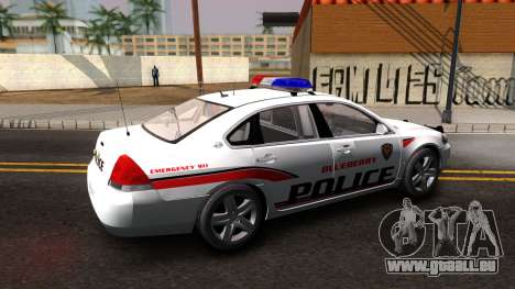 Chevy Impala Blueberry PD 2009 pour GTA San Andreas laissé vue