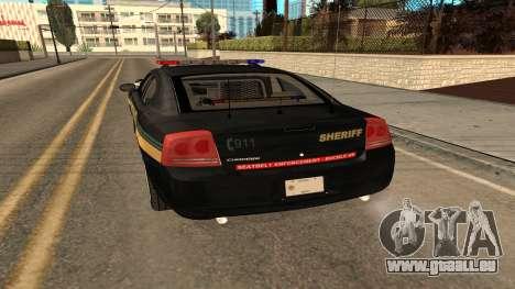 Dodge Charger County Sheriff pour GTA San Andreas vue de droite