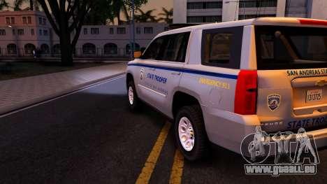 2015 Chevy Tahoe San Andreas State Trooper pour GTA San Andreas vue de côté