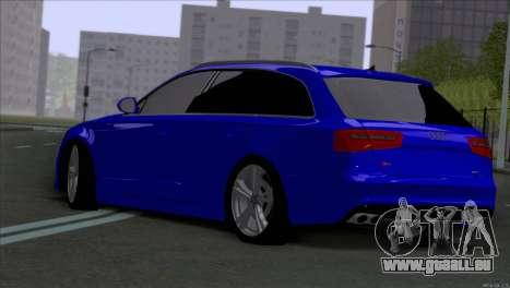 AUDI RS6 2014 pour GTA San Andreas sur la vue arrière gauche