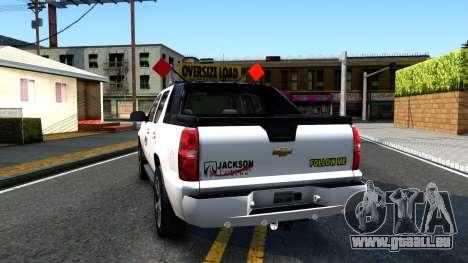 2007 Chevy Avalanche - Pilot Car für GTA San Andreas zurück linke Ansicht