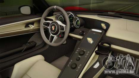 Porsche 918 Spyder 2013 Weissach Package SA pour GTA San Andreas vue intérieure