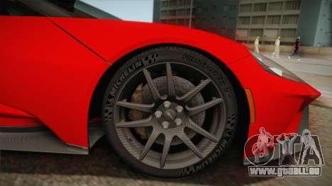 Ford GT 2017 No Stripe für GTA San Andreas zurück linke Ansicht