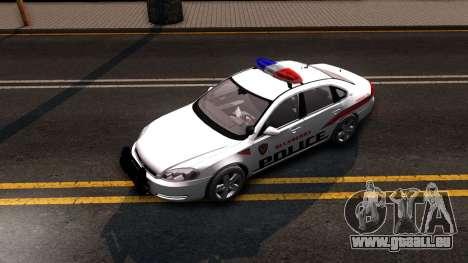 Chevy Impala Blueberry PD 2009 pour GTA San Andreas vue arrière