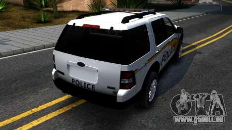 Ford Explorer Metro Police 2009 für GTA San Andreas zurück linke Ansicht