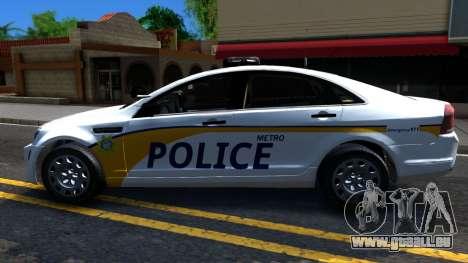 Chevy Caprice Metro Police 2013 pour GTA San Andreas laissé vue