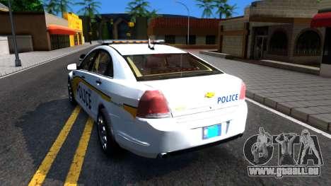 Chevy Caprice Metro Police 2013 für GTA San Andreas zurück linke Ansicht