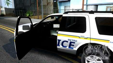 Ford Explorer Metro Police 2009 pour GTA San Andreas vue intérieure
