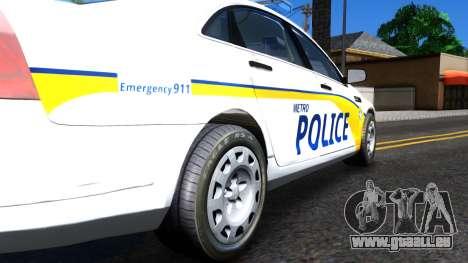 Chevy Caprice Metro Police 2013 für GTA San Andreas Rückansicht