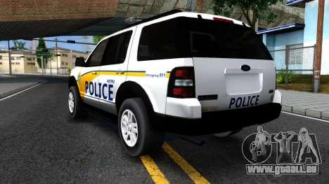 Ford Explorer Metro Police 2009 pour GTA San Andreas vue arrière