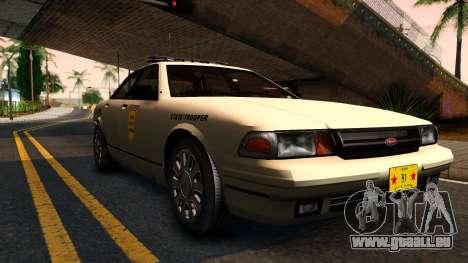 Brute Stanier 2009 Iowa State Patrol pour GTA San Andreas laissé vue