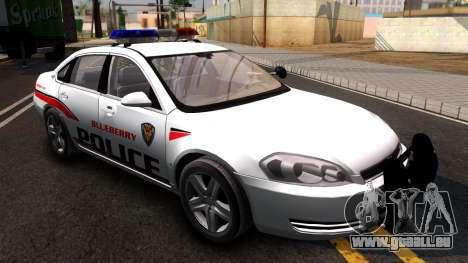 Chevy Impala Blueberry PD 2009 pour GTA San Andreas vue de droite