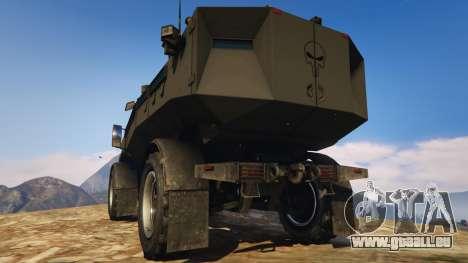 GTA 5 Punisher Black Armed Version arrière vue latérale gauche