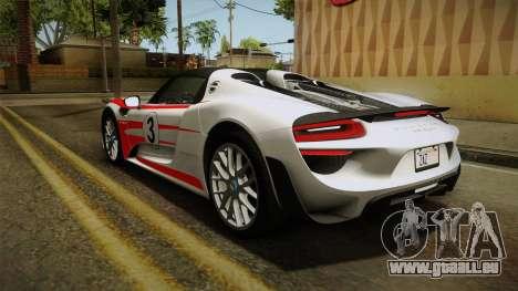 Porsche 918 Spyder 2013 Weissach Package SA pour GTA San Andreas roue