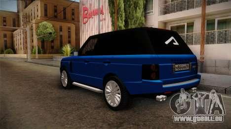 Range Rover 2008 für GTA San Andreas zurück linke Ansicht