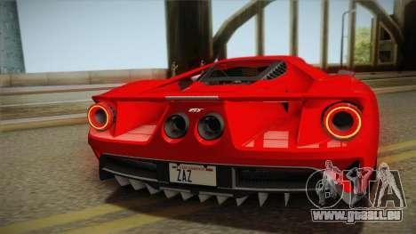 Ford GT 2017 No Stripe pour GTA San Andreas vue arrière