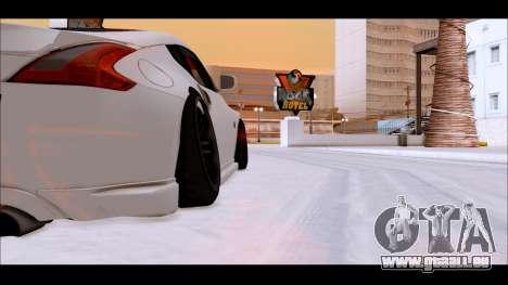 Nissan 370z Drift Edition für GTA San Andreas zurück linke Ansicht