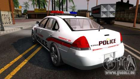 Chevy Impala Blueberry PD 2009 pour GTA San Andreas sur la vue arrière gauche