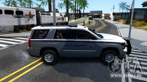 2015 Chevy Tahoe San Andreas State Trooper pour GTA San Andreas sur la vue arrière gauche