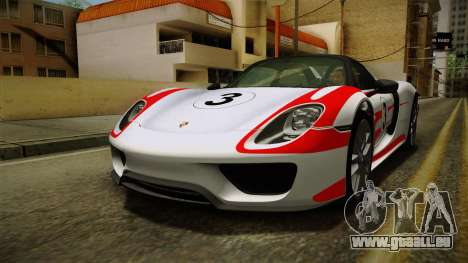 Porsche 918 Spyder 2013 Weissach Package SA pour GTA San Andreas moteur