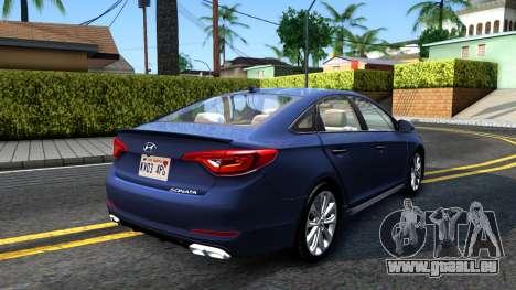 Hyundai Sonata 2016 für GTA San Andreas zurück linke Ansicht