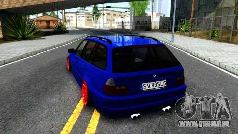 BMW E46 Touring Facelift pour GTA San Andreas sur la vue arrière gauche