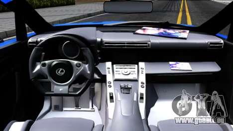 Lexus LFA pour GTA San Andreas vue intérieure